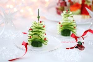 Koolhydraatarme komkommer kerstboompjes kerst hapjes