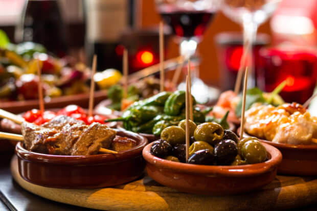 Koolhydraatarm eten in een tapas restaurant